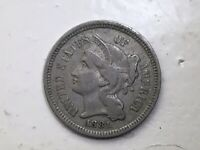 3THREECENT- 1881 THREE CENT NICKEL PIECE - TOUGH TO FIND     X/FINE