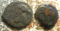 LOT OF 2 COINS OF ANCIENT CARTHAGE  TANIT & HORSE  AND  HORSE & PALM TREE