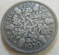 1929 GREAT BRITAIN SILVER SIX PENCE COIN. BETTER GRADE  W14