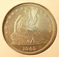 1843  LIBERTY SEATED HALF DOLLAR    AU       NEARLY UNCIRCUL