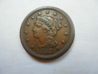 1853 BN BRAIDED HAIR CENT COIN  XF  ON COPPER