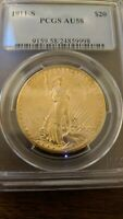 1911 S $20 ST GAUDENS DOUBLE EAGLE AU58 PCGS RATED WITH CERT