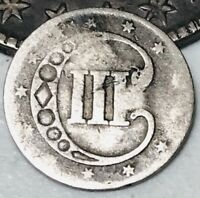 1852 THREE CENT SILVER PIECE TRIME 3C TYPE 1 UNGRADED GOOD DATE US COIN CC2954