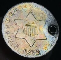 1852 THREE CENT SILVER PIECE TRIME 3C TYPE 1 DAMAGED CULL US SILVER COIN CC2955