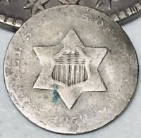 1853 THREE CENT SILVER PIECE TRIME 3C TYPE 1 UNGRADED WORN DATE US COIN CC2957