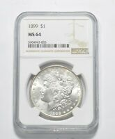MINT STATE 64 1899 MORGAN SILVER DOLLAR - GRADED NGC 9588
