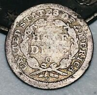 1858 O SEATED LIBERTY HALF DIME 5C UNGRADED GOOD DATE 90 SILVER US COIN CC2966