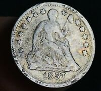 1857 SEATED LIBERTY HALF DIME 5C HIGHER GRADE GOOD DATE US SILVER COIN CC2967