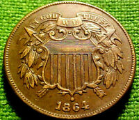 1864 TWO CENT PIECE 2C  HIGHER GRADE REPUNCHED DATE W/ SOLID DETAILS  50PS