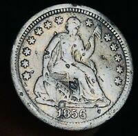 1856 SEATED LIBERTY HALF DIME 5C HIGH GRADE DETAILS GOOD US SILVER COIN CC2754