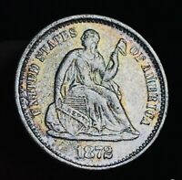 1872 SEATED LIBERTY HALF DIME 5C HIGH GRADE DETAILS GOOD US SILVER COIN CC2987