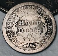 1856 O SEATED LIBERTY HALF DIME 5C UNGRADED GOOD DATE 90 SILVER US COIN CC2989
