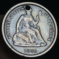 1860 SEATED LIBERTY HALF DIME 5C HIGH GRADE DETAILS GOOD US SILVER COIN CC2990