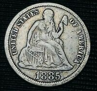 1885 SEATED LIBERTY DIME 10C HIGH GRADE DETAILS GOOD US SILVER COIN CC2991