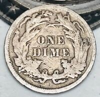 1884 SEATED LIBERTY DIME 10C HIGHER GRADE DETAIL GOOD DATE US SILVER COIN CC2992