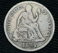 1884 S SEATED LIBERTY DIME 10C HIGHER GRADE GOOD KEY DATE US SILVER COIN CC2993