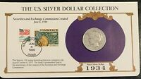 1934 PEACE SILVER DOLLAR, US POSTAL COMMEMORATIVE STAMP SET,  10/25C STAMPS