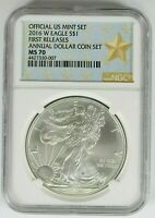 2016 W BURNISHED AMERICAN SILVER EAGLE NGC MS70 FIRST RELEASE ANNUAL DOLLAR SET