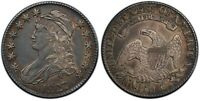 TOUGHER DATE 1827 CAPPED BUST HALF 50C SQUARE 2 EXTRA FINE /AU RAW