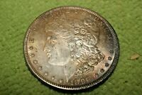 A1528,RAINBOW TONED MORGAN SILVER DOLLAR,1896 P VAM 11 BU