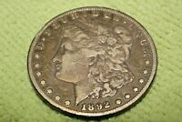 A1565-240,MORGAN SILVER DOLLAR,1892 CC KEY DATE
