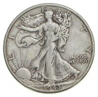 1943 D WALKING LIBERTY 90  SILVER US HALF DOLLAR  177