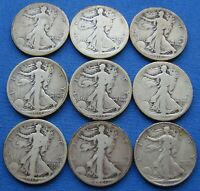 KEY DATE LOT 9 WALKING LIBERTY HALF DOLLAR 1916 S & D 1917 S