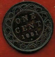 CANADA  ONE CENT 1881H   QUEEN VICTORIA   MINTAGE 2 000 000