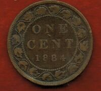 CANADA  ONE CENT 1884   QUEEN VICTORIA   MINTAGE 2 500 000