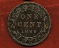 CANADA  ONE CENT 1886   QUEEN VICTORIA   MINTAGE 1 500 000