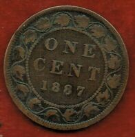 CANADA  ONE CENT 1887   QUEEN VICTORIA   MINTAGE 1 500 000