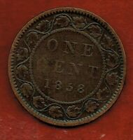 CANADA  ONE CENT 1858 YOUNG VICTORIA  DIE CRACK ACROSS C IN