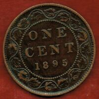 CANADA  ONE CENT 1895   VICTORIA.SMALL DIE CRACK BETWEEN N A