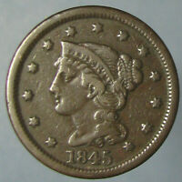 1845 BRAIDED HAIR LARGE CENT   NICE BROWN FINE
