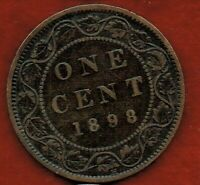 CANADA  ONE CENT 1898H    VICTORIA.  MINTAGE 1 000 000