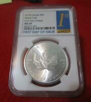 2018 CANADA SILVER $5 MAPLE LEAF  NGC MS 69  FIRST DAY OF IS