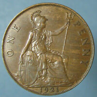 1921 GEORGE V PENNY   LIGHTLY CIRCULATED WITH NICE WOODGRAIN TONING