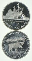 LOT OF 2 1987 & 1985 CANADA CANADIAN SILVER DOLLAR COIN .500