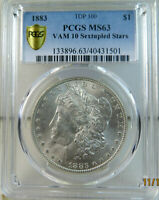 1883 MORGAN DOLLAR PCGS MINT STATE 63 VAM 10 SEXTUPLED STARS TOP100 PCGS POP 12/3 BR