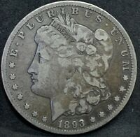 1893 CC MORGAN SILVER DOLLAR F  KEY DATE CARSON CITY MINT COIN  TOANING