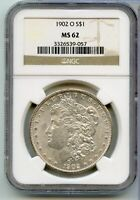 1902-O NGC MINT STATE 62 MORGAN SILVER DOLLAR NEW ORLEANS MINT $1 COIN RX583