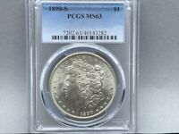 1890-S PCGS MINT STATE 63 MORGAN SILVER DOLLAR PREMIUM COIN  STRIKE AND LUSTER