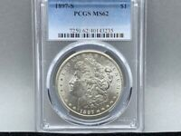 1897-S PCGS MINT STATE 62 MORGAN SILVER DOLLAR PREMIUM COIN  STRIKE  AND LUSTER