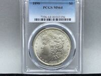 1890-P PCGS MINT STATE 64 MORGAN SILVER DOLLAR PREMIUM COIN  STRIKE AND LUSTER