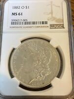 1882-O BEAUTIFUL NEW ORLEANS MINTED NGC MINT STATE 61  MORGAN SILVER DOLLAR