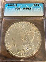 1882-S BEAUTIFUL SAN FRANCISCO MINTED ICG MINT STATE 62 MORGAN SILVER DOLLAR