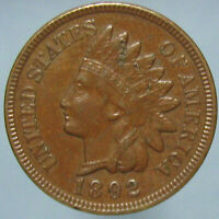 BROWN AU 1892 INDIAN HEAD CENT WITH SOME MARKS   BUDGET PRICED