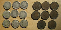 NINE SILVER BARBER & ROOSEVELT DIMES & EIGHT INDIAN HEAD CENTS