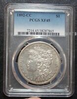 1892-CC PCGS EXTRA FINE 45 CARSON CITY MORGAN SILVER DOLLAR WILD WEST TYPE COIN EF45