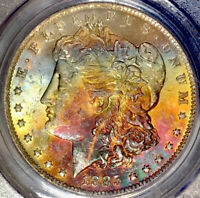 1885-O MORGAN DOLLAR PCGS MINT STATE 63 RED/ BURGUNDY WHITE BLUE PEACH RAINBOW TONED